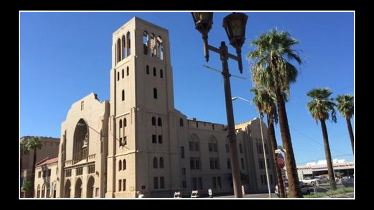 The First Baptist Church, known now as the Monroe Abbey, is one of Phoenix' historic architectural structures, shown here in this photo from the Poenix Business Journal.